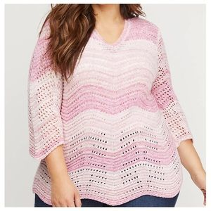 🔴Plus Size 22/24 Pink Ribbed Chevron Pullover